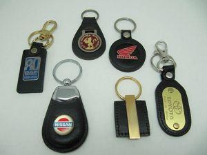 皮革+金屬片鑰匙圈